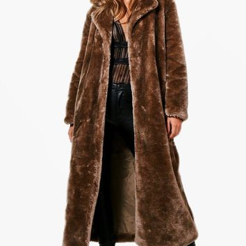 Stephanie Maxi Faux Fur Coat | Boohoo