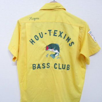 70s BASS CLUB HOUSTON Hou - Texins Embroidered Yellow Button Down Pla-Shirt by Dunbrook / Size Medium