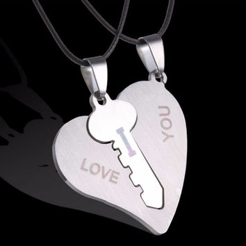 I Love You Couple Necklaces Set Lock Key Matching Heart Stainless Steel Pendant Necklace for Couples  2Pcs SM6