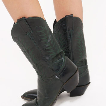 Vintage 80s WESTERN Boots Deep Green Leather JUSTIN Boots COWBOY Boots Boho Boots Women's Size 8