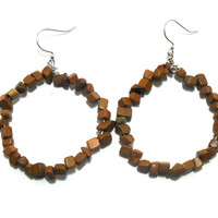Jasper Earrings , Beaded Hoop Earrings , Gemstone Earrings , Womens Jewelry , Gifts for Teenager , Gifts under 50 , Beaded Earrings