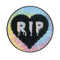 RIP Tie Dye Heart Iron-On Patch