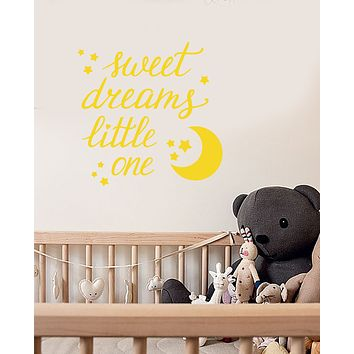 Vinyl Wall Decal Quote For Baby Room Sweet Dreams Moon Stars Stickers (3723ig)