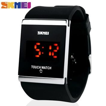 Skmei Trendy Colorful LED Touch Digital Watch,Men Watch,Women Watch,Casual Sport,Rectangle Shape Dial Rubber Band Watch