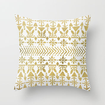 Norwegian Pattern – Gold on White Throw Pillow by Cat Coquillette