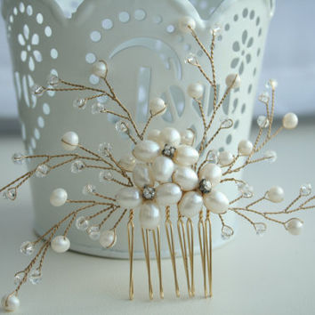 Pearl Comb, wedding pearl comb, bridal hair comb pearl, bridal hair accessories, bridal pearl comb, bridal pearl headpiece, Gold bridal comb