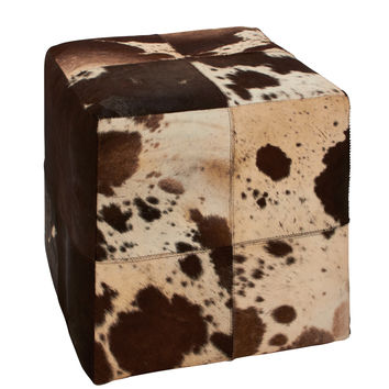 Wonderful Wood Leather Square Ottoman