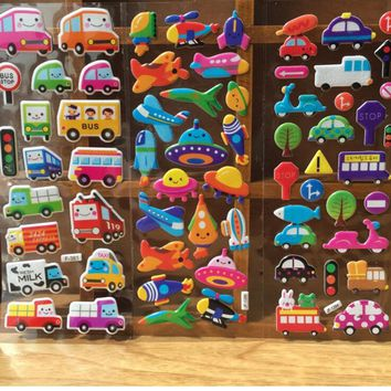 10 Sheets/lot 3D Fashion Brand Kids Toys Cartoon Cute Animals Zoo 3D Stickers Children girls boys PVC Stickers Bubble Stickers