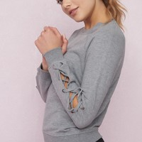 Lace-Up Sleeve Sweatshirt