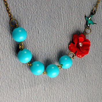 Free Shipping Last One Red Enamel Flower by ManoCelebrates