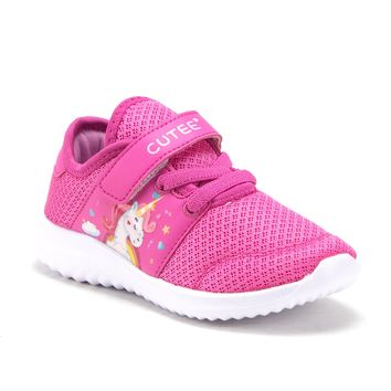Toddler Little Girls Unicorn Faux Lace Easy On School Sports Shoes Flats Sneakers