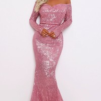 Time To Sparkle Pink Sequin Long Sleeve Off The Shoulder V Neck Mermaid Maxi Dress