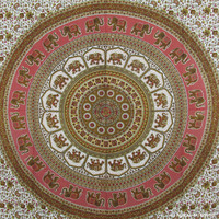 Red Indian Elephant Round Mandala Dorm Decor Tapestry Wall Hanging Bedspread
