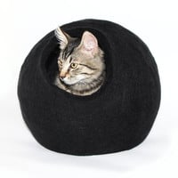 XL Handmade wool felted Cat Bed. Black. Cocoon Shape. Interior Design idea