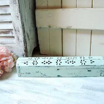Mint Green Incense Box, Boho Rustic Distressed Light Green Incense Burner Shabby Chic Incense Storage Box, Incense Coffin Box Gift Idea