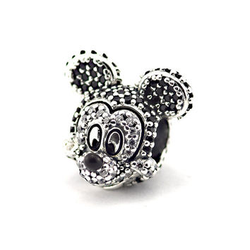 Minnie & Mouse Sparkling Animal CZ Bead 100% Sterling Silver Jewelry Bead Fit European Charm Bracelet Silver DIY Jewelry