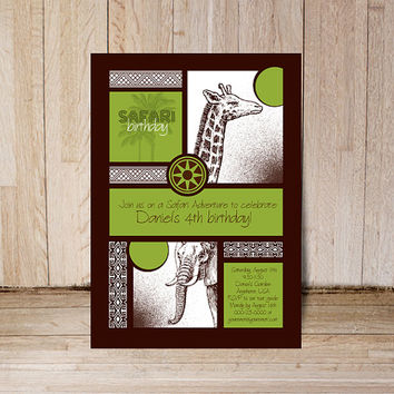 Printable Safari birthday invitation and thank you card Jungle theme party Personalized green brown elephant giraffe girls boys anniversary