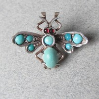 Incredible 1940's Retro Sterling Silver & Turquoise Garnet Tiny BUTTERFLY Dress Clip, Vintage Pin