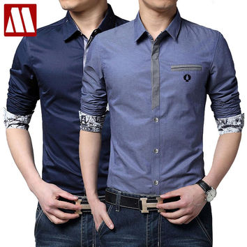 New Spring And Autumn Men Cotton Shirts Casual Men's Long Sleeve Shirt Turn-down Collar Casual Men's Shirts Preppy Stylish