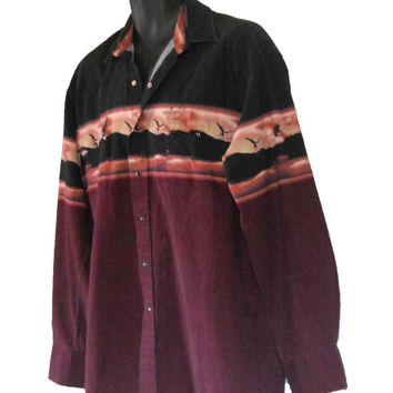 Pearl Snap Shirt Country Western Shirt Men Cowboy Shirt Nature Shirt Eagle Shirt Burgundy Shirt Collared Shirt Button Down Shirt American