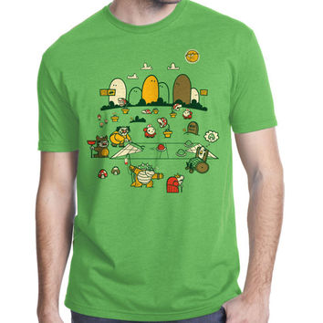 Mario Yoshi Bowser T-Shirt, Nintendo, Videogame, Geekery, Men's Cool T Shirt, American Apparel, Available S M L XL XXL