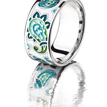 paisley ring blue ring green ring enamel jewelry sterling silver green enamel blue enamel ring handmade jewelry gifts for her white ring