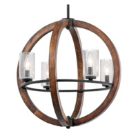20-in W Auburn Pendant Light with Seeded Shade Rustic Orb Globe