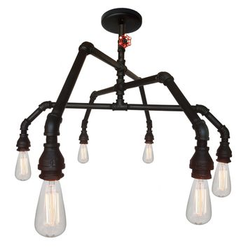 Industrial Rustic Pipe and Vintage Valve Chandelier - 6 Light