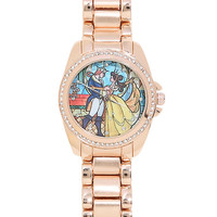 Disney Beauty And The Beast Stained Glass Rose Gold Watch