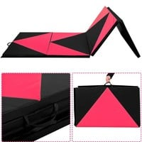 "Giantex 4'x10'x2"" Thick Folding Panel Gymnastics Mat Gym Fitness Exercise Pink/black"