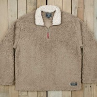 Southern Marsh Quarter Zip Appalachian Pile Sherpa Pullover in Light Brown OAPP-LBR