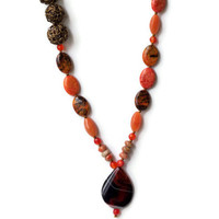 Long Chunky Asymmetrical Pendant Necklace/ Brown Rust Burnt Orange Caramel Bronze Necklace/ Warm Fall Colors Beaded Necklace/ Natural Stones