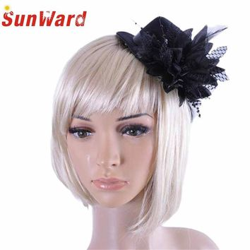Fashion Women Party Head Hair Clip Barrette Hat Flower Feather Bride Headband accessories Drop Shipping High Quality LS28