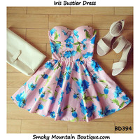 Iris Vintage Floral Bustier Dress with Adjustable Straps