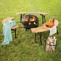 Folding Metal And Wood Crescent Benches - Plow & Hearth