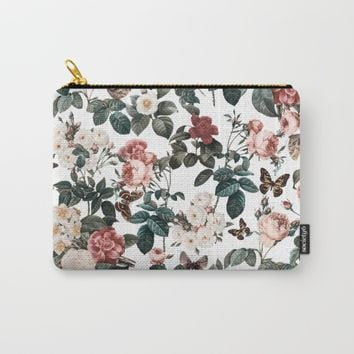 Floral and Butterflies II Carry-All Pouch by Burcu Korkmazyurek