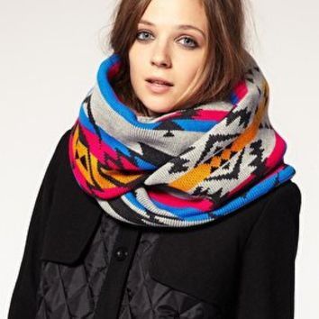 ASOS | ASOS Bright Intarsia Knit Snood at ASOS