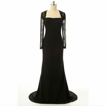 Mermaid Lace long sleeve Back Bow Black Chiffon Long Evening Dress Party Gowns