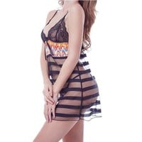 Sexy Ladies 2 Piece Lace See-through Babydolls Sheer Mesh Lingerie Mini Nightdress with G-string
