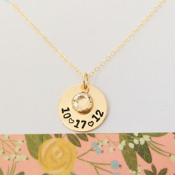 Personalized Gold Date Necklace, 14k Gold Filled Birthstone Necklace, Custom Mom Necklace