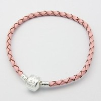 "Amazon.com: High Quality (Pink 7.5"") Real Leather Bracelet Fit Beads Pandora Chamilia, Zable, Carlo Biagi: Jewelry"