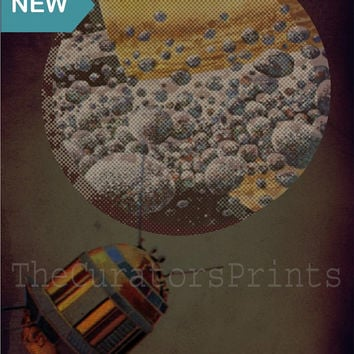 SALE 15% OFF Vintage Style spaceship on a new planet Wall art print home decor