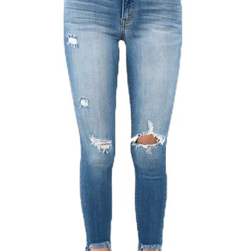 Kan Can Medium Wash Chelsi Distressed Ankle Skinny Jeans