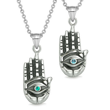All Seeing and Feeling Buddha Eye Hand Love Couples Best Friends Amulets Sky Blue Green Pendant Necklaces