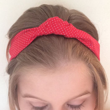 Red Knotted Headband with Lace, Small White Polka-Dots Pattern, Upcycled, Recycled Fabric