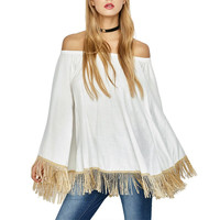 Summer Women White  Tops Flare Sleeve Tassel Sexy Shirt