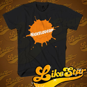 Nickelodeon Logo Men T-Shirt - American basic cable and satellite television network Design T-Shirt for Men (Various Color Available)