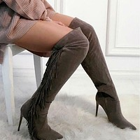 Tassel Pointed Toe Stiletto High Heel Over the Knee Long Boots