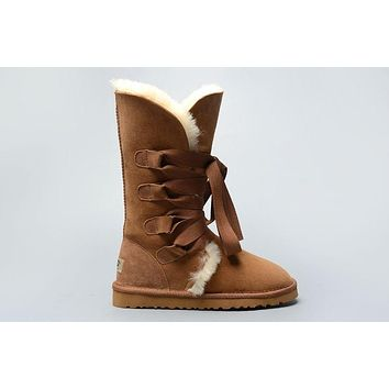 LFMON UGG 1005818 Tall Lace-Up Women Fashion Casual Wool Winter Snow Boots Chestnut