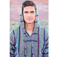 Mexican Threads| Black Red Turquoise Baja Hoodie Drug Rug | Mexican Threads